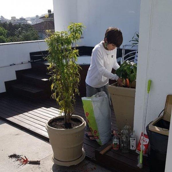 ATITUDE em casa Os nossos queridos alunos cuidando das mudas de pitanga e café que pegaram no Colégio. Pensa, no carinho e cuidado com a
